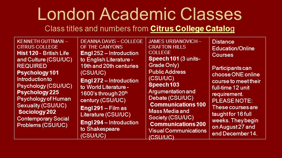 London Academic Classes Class titles and numbers from Citrus College CatalogCitrus College Catalog DEANNA DAVIS – COLLEGE OF THE CANYONS Engl 252 – In