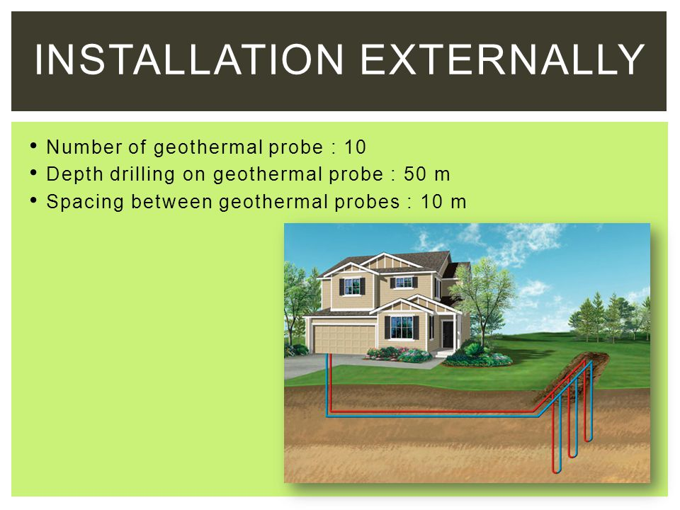 INSTALLATION EXTERNALLY Number of geothermal probe : 10 Depth drilling on geothermal probe : 50 m Spacing between geothermal probes : 10 m