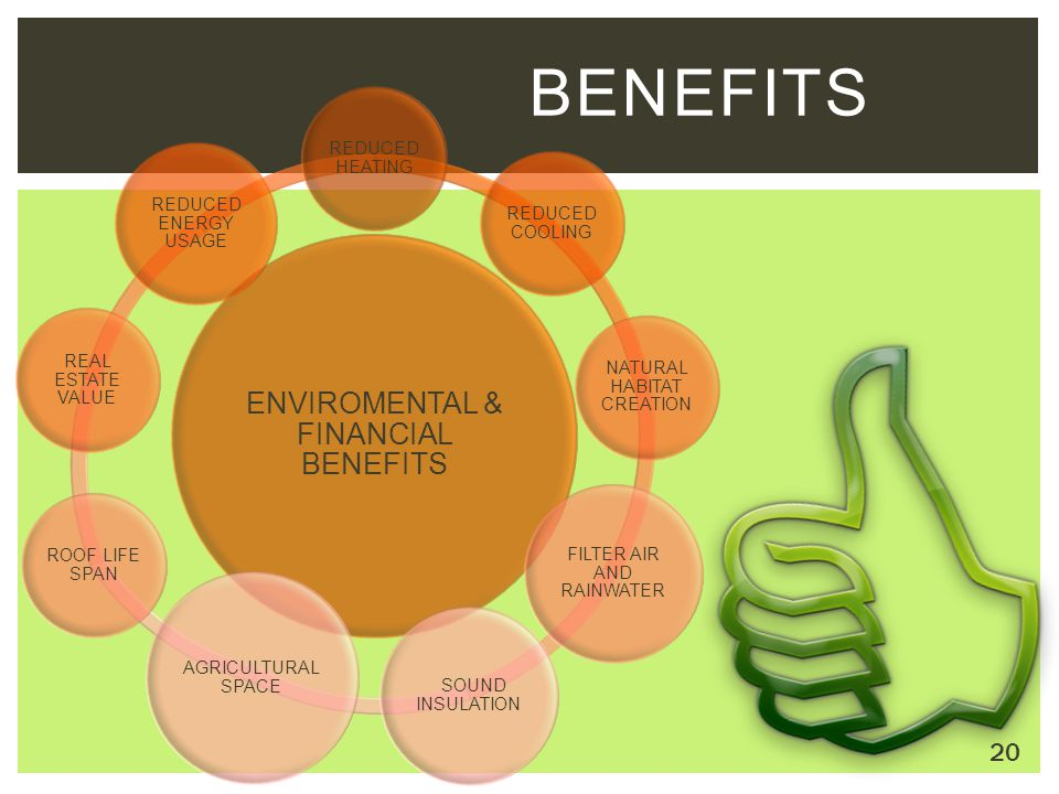 ENVIROMENTAL & FINANCIAL BENEFITS REDUCED HEATING REDUCED COOLING NATURAL HABITAT CREATION FILTER AIR AND RAINWATER SOUND INSULATION AGRICULTURAL SPAC