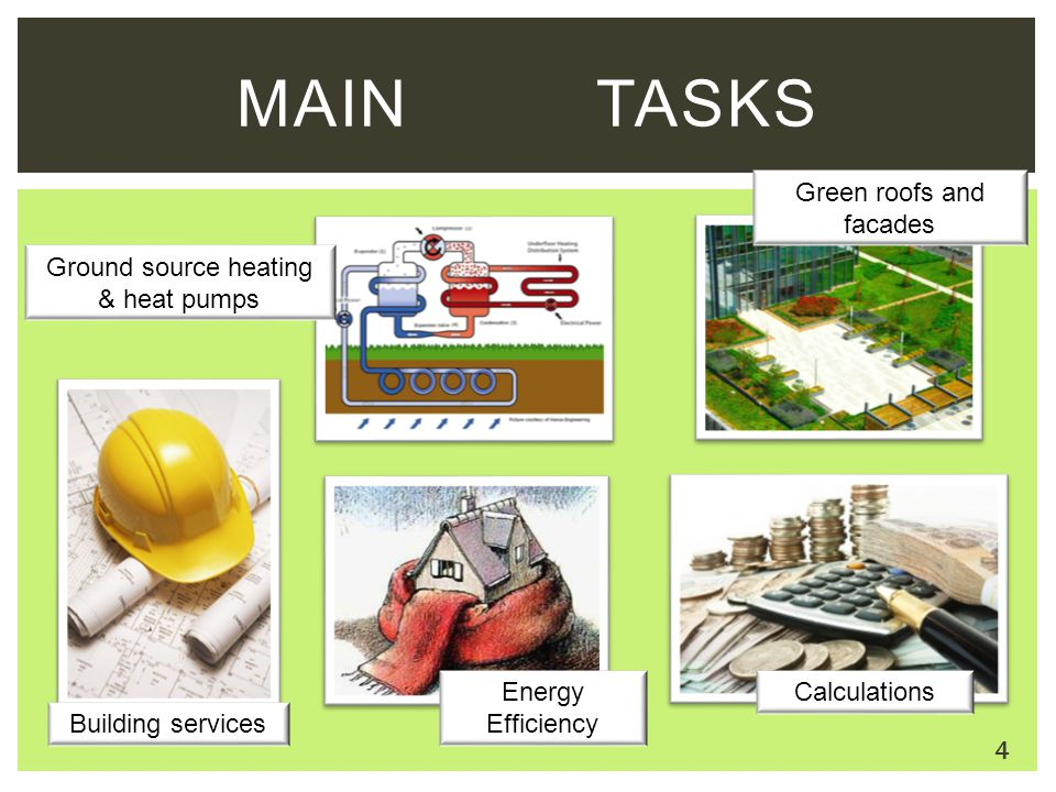MAIN TASKS Ground source heating & heat pumps Building services Calculations Energy Efficiency Green roofs and facades 4