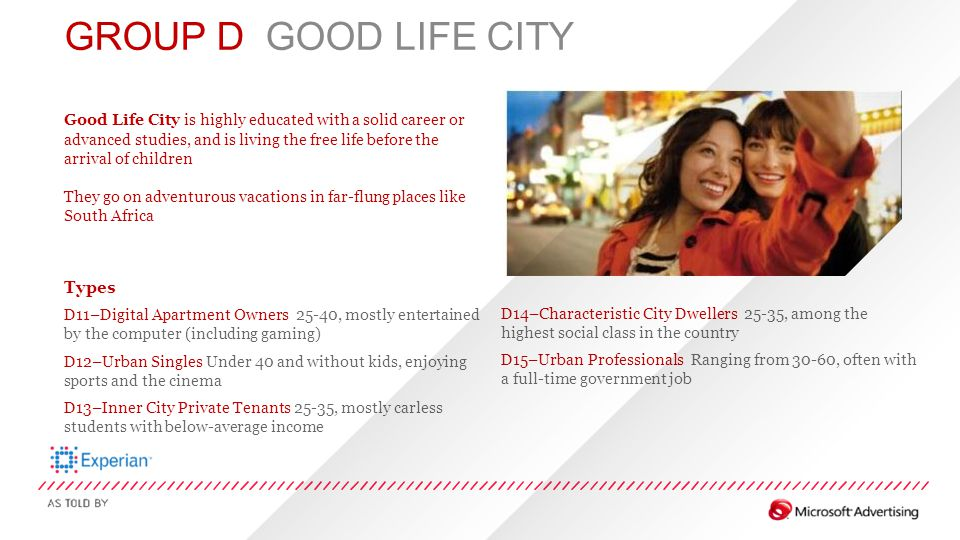 GROUP D GOOD LIFE CITY Good Life City is highly educated with a solid career or advanced studies, and is living the free life before the arrival of ch