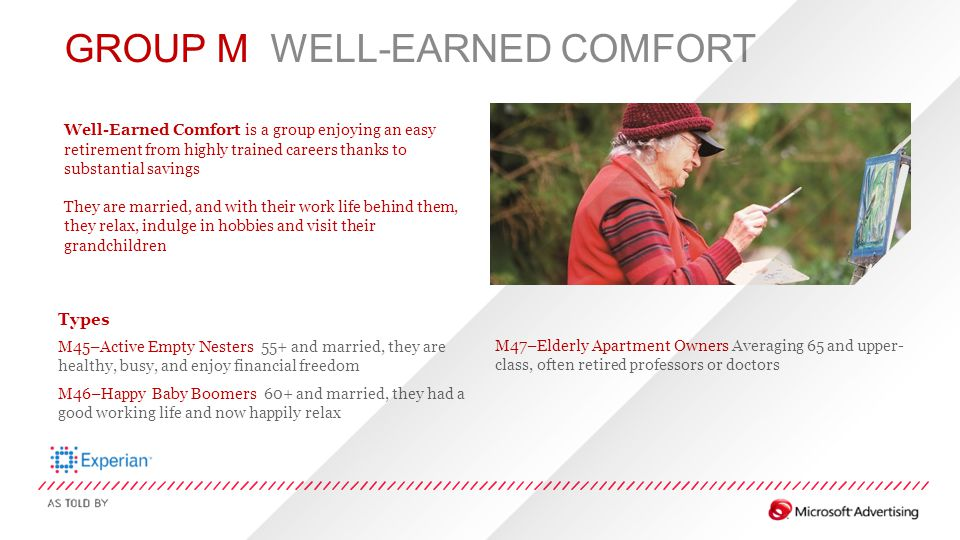 GROUP M WELL-EARNED COMFORT Well-Earned Comfort is a group enjoying an easy retirement from highly trained careers thanks to substantial savings They