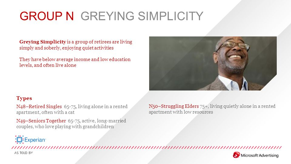 GROUP N GREYING SIMPLICITY Greying Simplicity is a group of retirees are living simply and soberly, enjoying quiet activities They have below average
