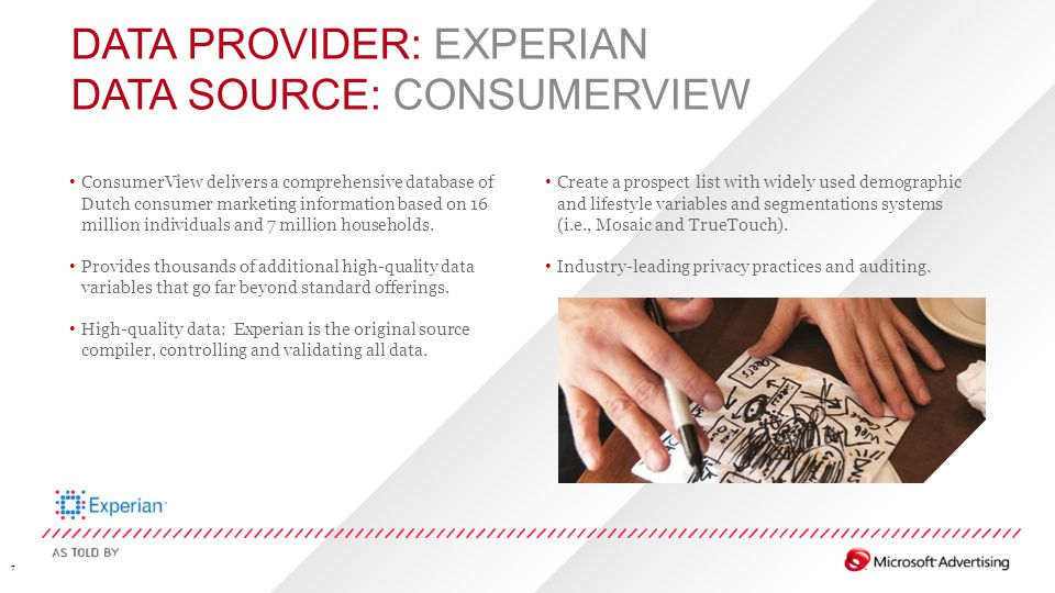 DATA PROVIDER: EXPERIAN DATA SOURCE: CONSUMERVIEW 7 ConsumerView delivers a comprehensive database of Dutch consumer marketing information based on 16