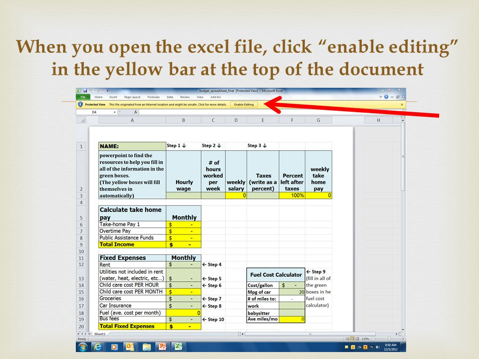 When you open the excel file, click enable editing in the yellow bar at the top of the document