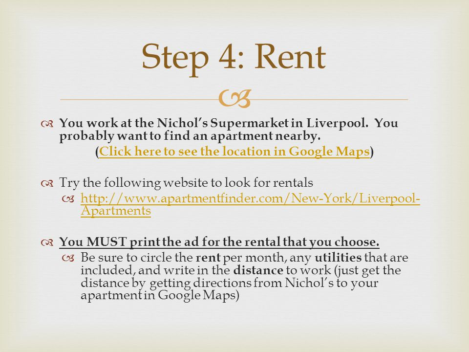 You work at the Nichols Supermarket in Liverpool. You probably want to find an apartment nearby.