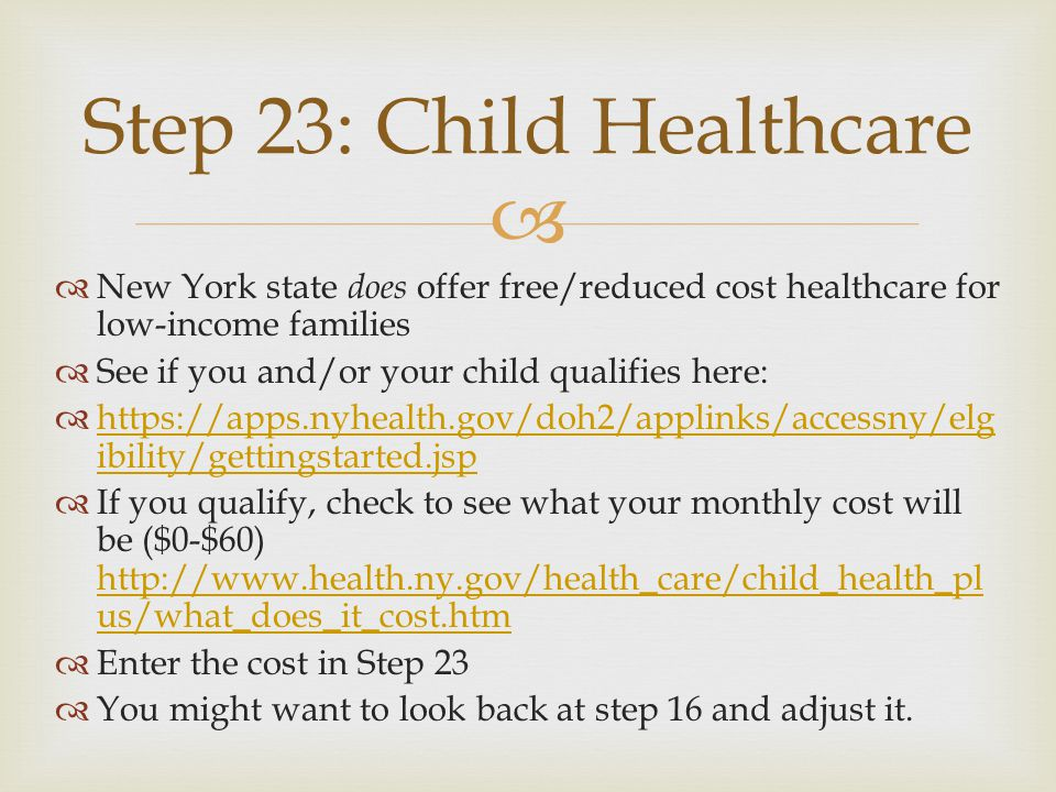 New York state does offer free/reduced cost healthcare for low-income families See if you and/or your child qualifies here: https://apps.nyhealth.gov/doh2/applinks/accessny/elg ibility/gettingstarted.jsp https://apps.nyhealth.gov/doh2/applinks/accessny/elg ibility/gettingstarted.jsp If you qualify, check to see what your monthly cost will be ($0-$60) http://www.health.ny.gov/health_care/child_health_pl us/what_does_it_cost.htm http://www.health.ny.gov/health_care/child_health_pl us/what_does_it_cost.htm Enter the cost in Step 23 You might want to look back at step 16 and adjust it.