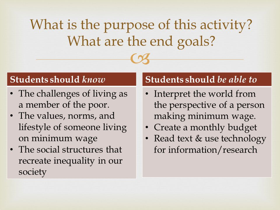 Students should know The challenges of living as a member of the poor. The values, norms, and lifestyle of someone living on minimum wage The social s