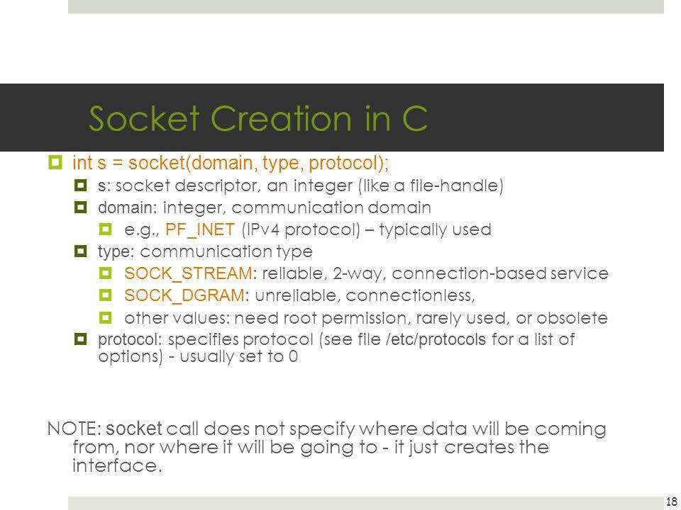 Socket Creation in C int s = socket(domain, type, protocol); s : socket descriptor, an integer (like a file-handle) domain : integer, communication do