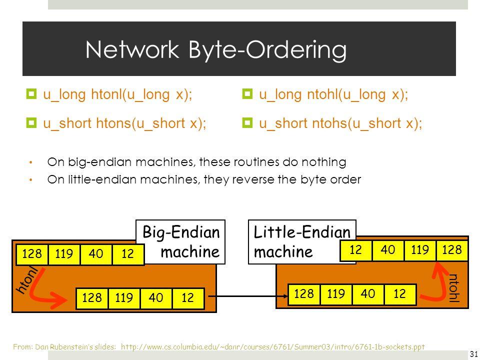 Network Byte-Ordering u_long htonl(u_long x); u_short htons(u_short x); u_long ntohl(u_long x); u_short ntohs(u_short x); 31 On big-endian machines, t