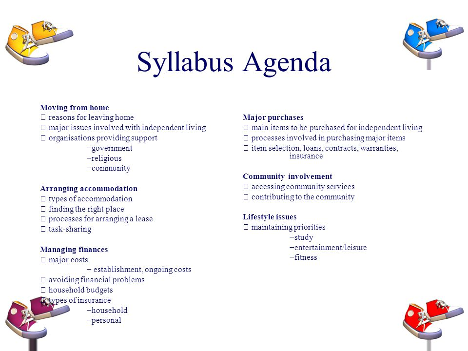 Syllabus Agenda Moving from home reasons for leaving home major issues involved with independent living organisations providing support government rel