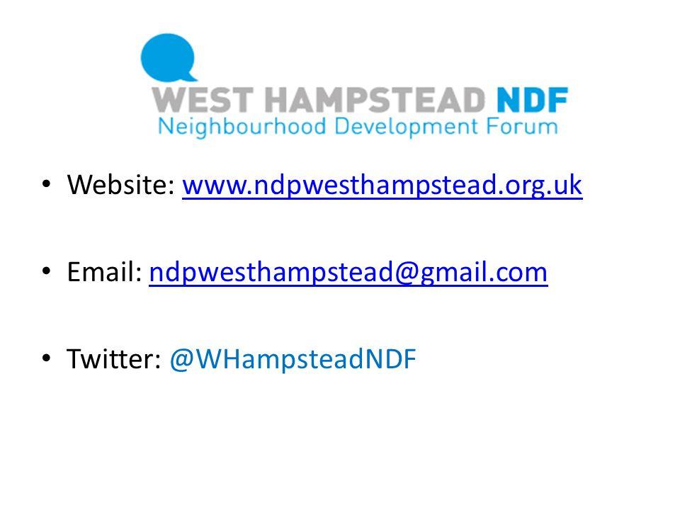 Website: www.ndpwesthampstead.org.ukwww.ndpwesthampstead.org.uk Email: ndpwesthampstead@gmail.comndpwesthampstead@gmail.com Twitter: @WHampsteadNDF