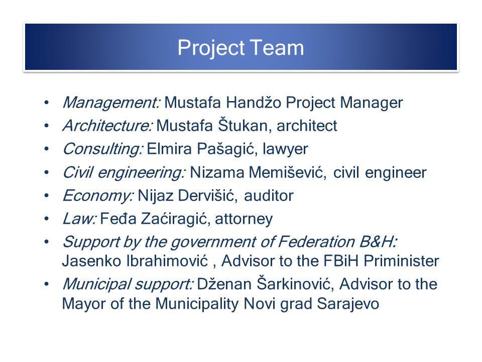 Project Team Management: Mustafa Handžo Project Manager Architecture: Mustafa Štukan, architect Consulting: Elmira Pašagić, lawyer Civil engineering:
