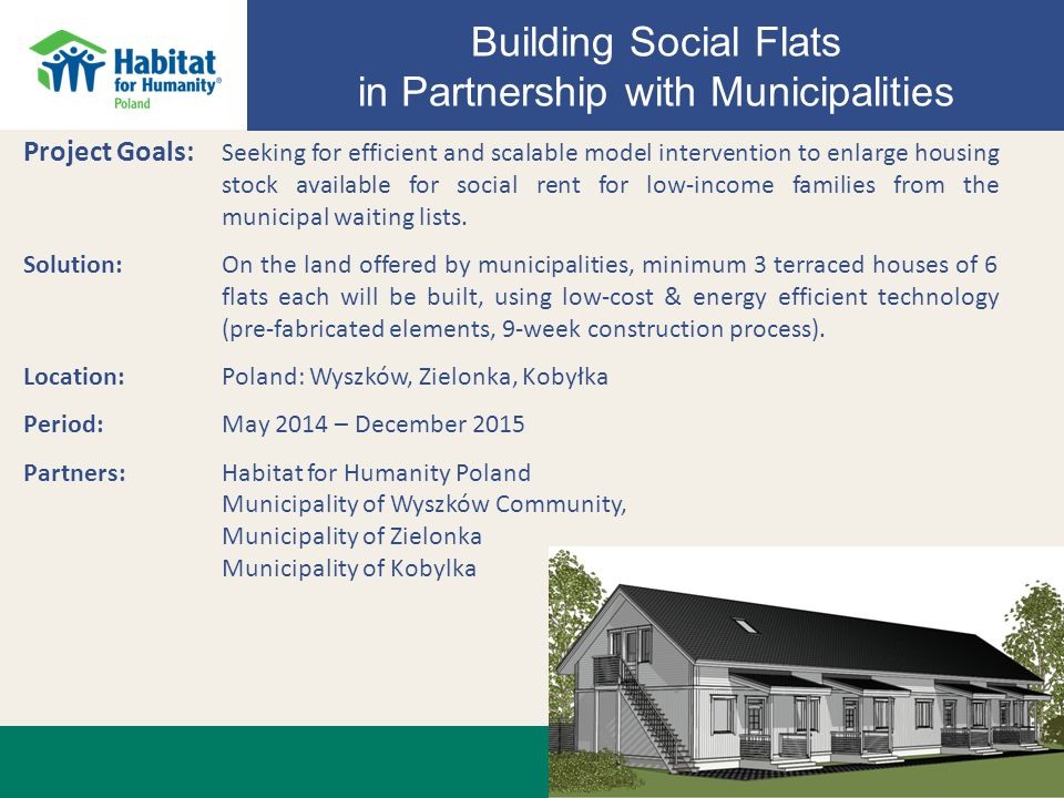 Project Goals: Seeking for efficient and scalable model intervention to enlarge housing stock available for social rent for low-income families from the municipal waiting lists.