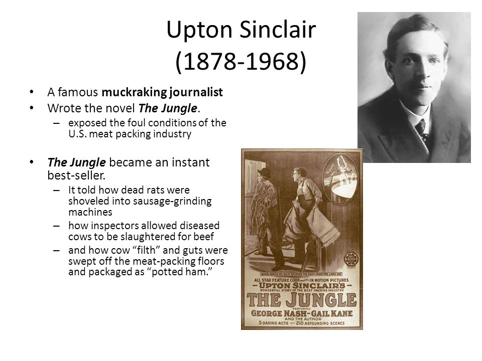 Upton Sinclair (1878-1968) A famous muckraking journalist Wrote the novel The Jungle. – exposed the foul conditions of the U.S. meat packing industry