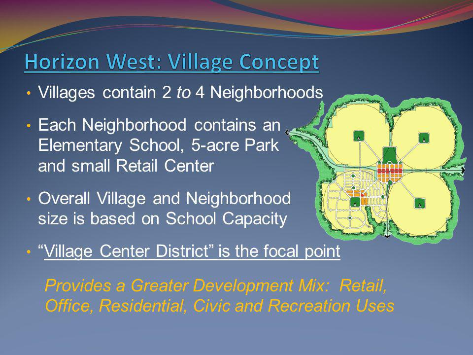 Villages contain 2 to 4 Neighborhoods Each Neighborhood contains an Elementary School, 5-acre Park and small Retail Center Overall Village and Neighbo