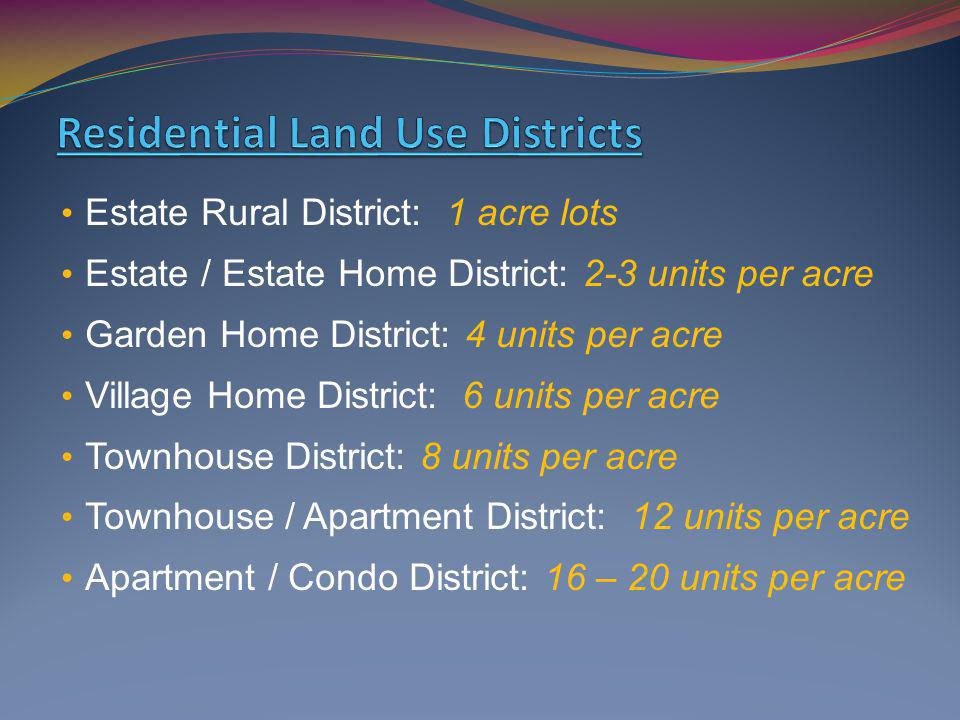 Estate Rural District: 1 acre lots Estate / Estate Home District: 2-3 units per acre Garden Home District: 4 units per acre Village Home District: 6 u