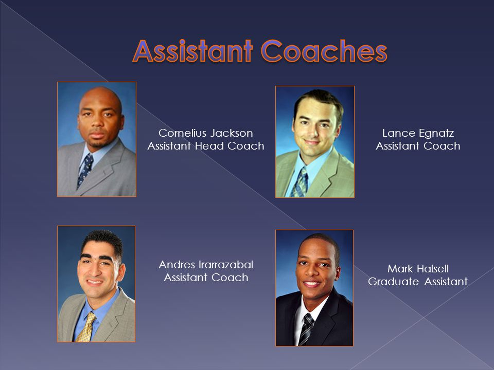 Cornelius Jackson Assistant Head Coach Lance Egnatz Assistant Coach Andres Irarrazabal Assistant Coach Mark Halsell Graduate Assistant
