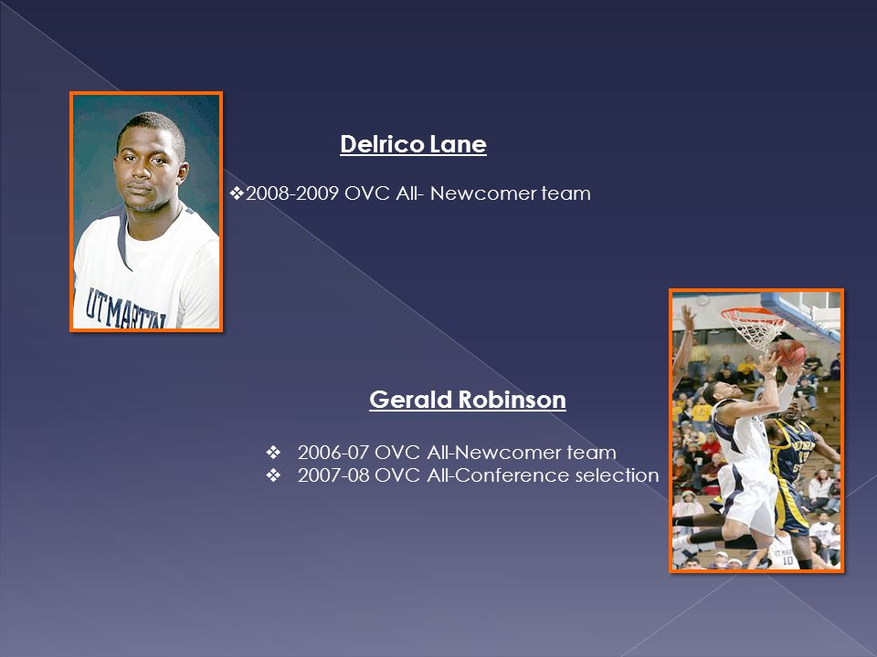 Gerald Robinson 2006-07 OVC All-Newcomer team 2007-08 OVC All-Conference selection Delrico Lane 2008-2009 OVC All- Newcomer team