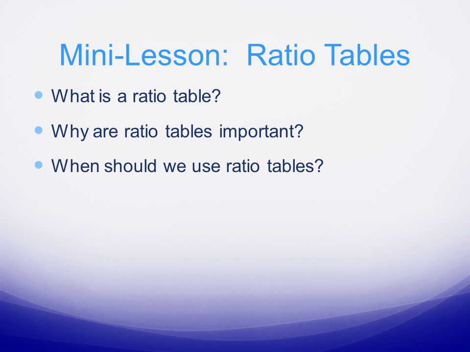Build a ratio table and use it to answer the question.