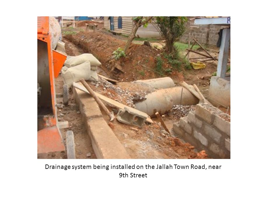 Drainage system being installed on the Jallah Town Road, near 9th Street