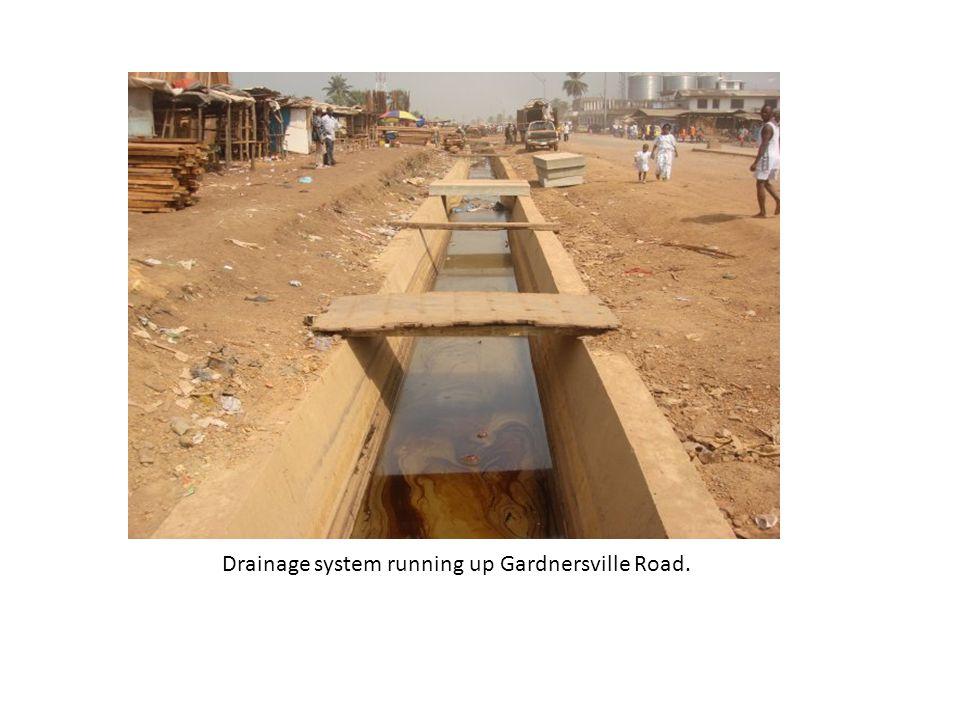 Drainage system running up Gardnersville Road.