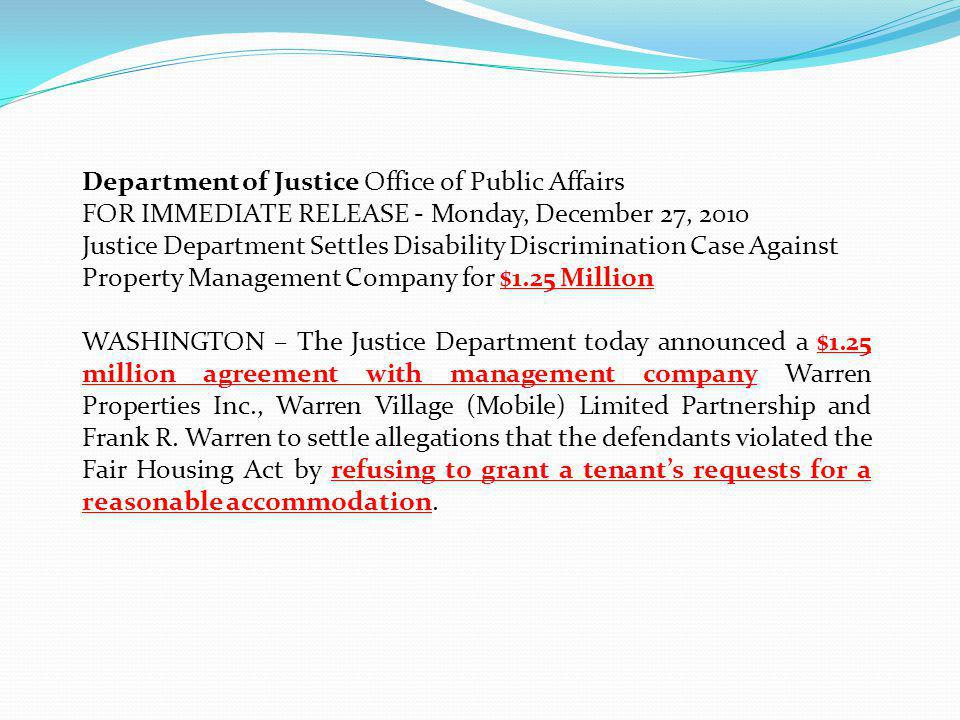 June 2011Fair Housing and Equal Opportunity21 Department of Justice Office of Public Affairs FOR IMMEDIATE RELEASE - Monday, December 27, 2010 Justice