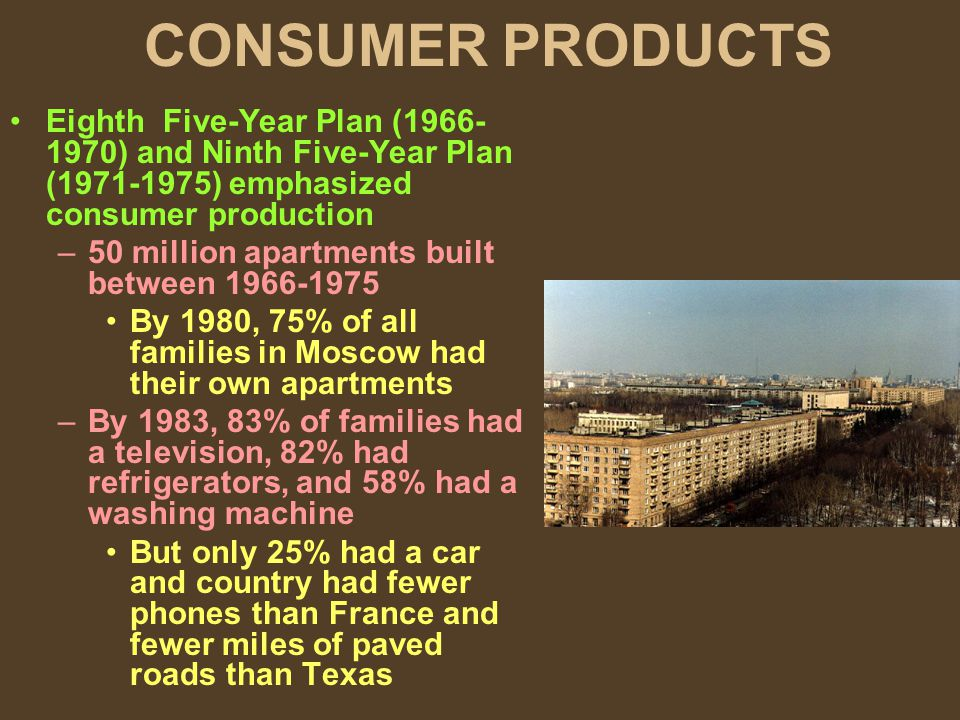 CONSUMER PRODUCTS Eighth Five-Year Plan (1966- 1970) and Ninth Five-Year Plan (1971-1975) emphasized consumer production –50 million apartments built between 1966-1975 By 1980, 75% of all families in Moscow had their own apartments –By 1983, 83% of families had a television, 82% had refrigerators, and 58% had a washing machine But only 25% had a car and country had fewer phones than France and fewer miles of paved roads than Texas