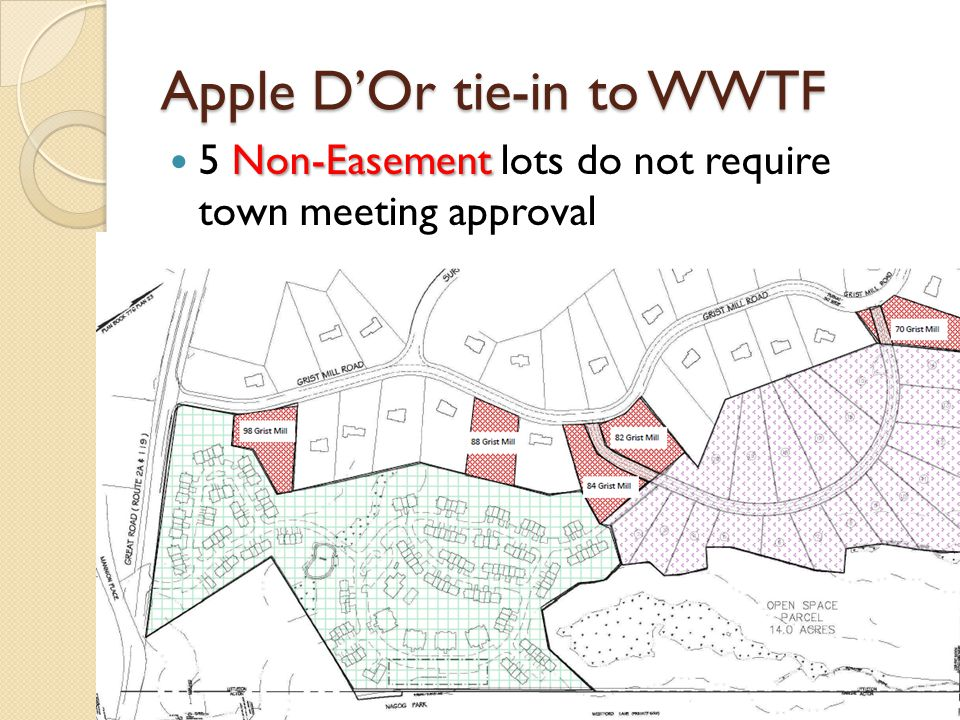 Apple DOr tie-in to WWTF Non-Easement 5 Non-Easement lots do not require town meeting approval