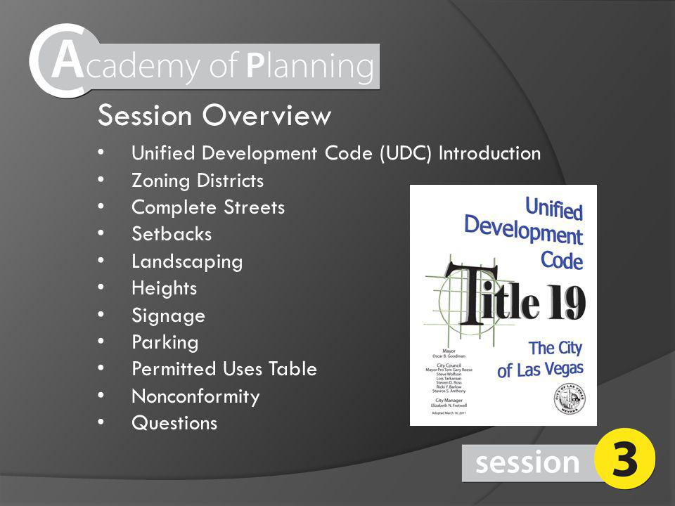 Session Overview Unified Development Code (UDC) Introduction Zoning Districts Complete Streets Setbacks Landscaping Heights Signage Parking Permitted Uses Table Nonconformity Questions