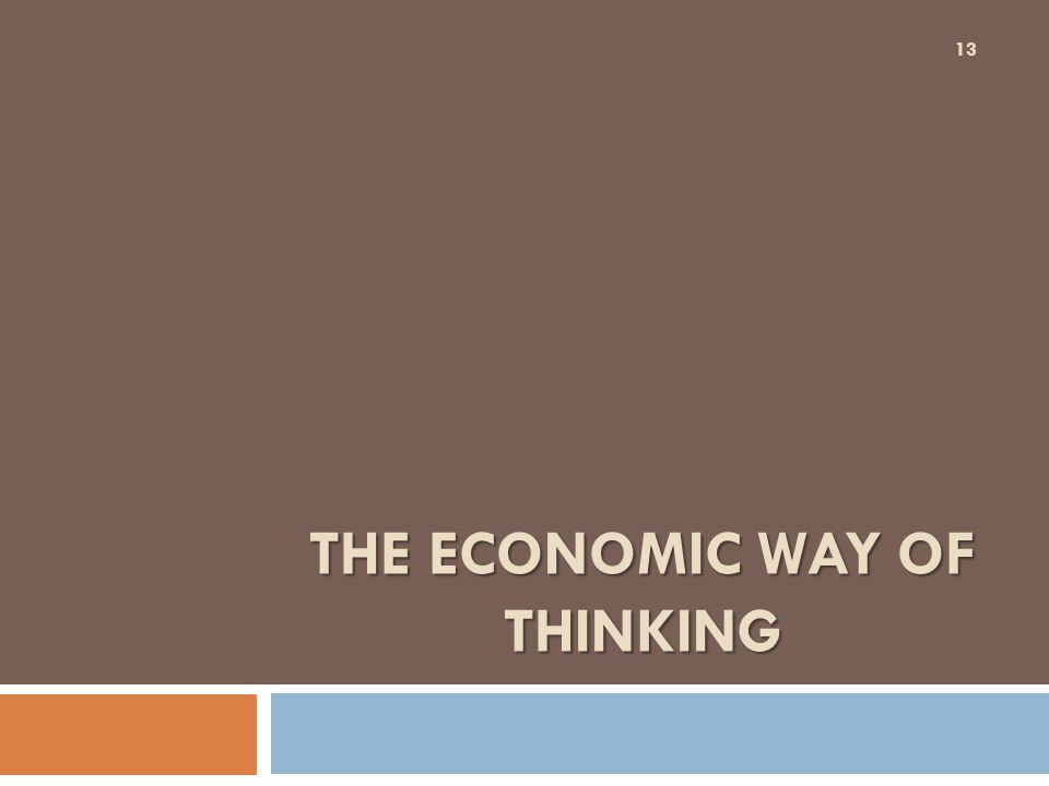 THE ECONOMIC WAY OF THINKING 13