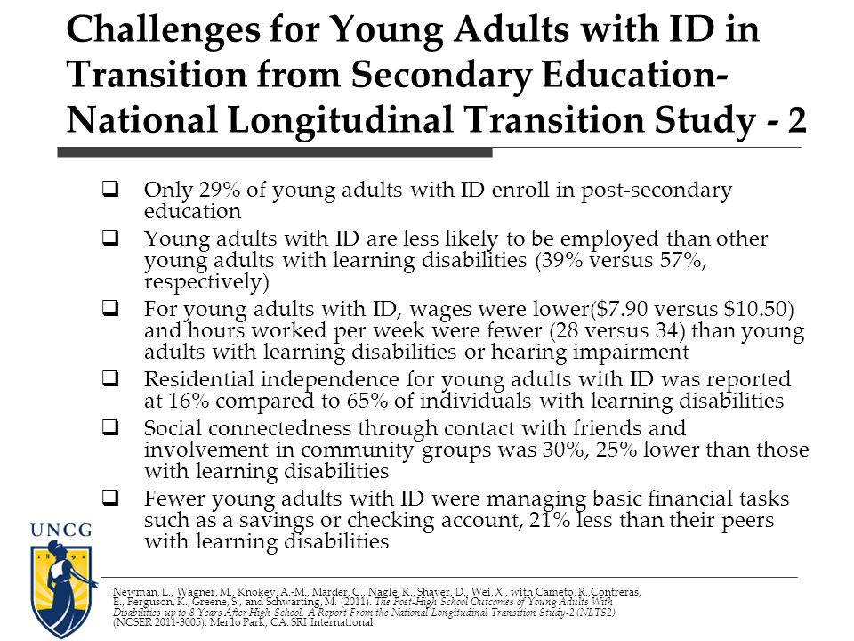 Challenges for Young Adults with ID in Transition from Secondary Education- National Longitudinal Transition Study - 2 Only 29% of young adults with ID enroll in post-secondary education Young adults with ID are less likely to be employed than other young adults with learning disabilities (39% versus 57%, respectively) For young adults with ID, wages were lower($7.90 versus $10.50) and hours worked per week were fewer (28 versus 34) than young adults with learning disabilities or hearing impairment Residential independence for young adults with ID was reported at 16% compared to 65% of individuals with learning disabilities Social connectedness through contact with friends and involvement in community groups was 30%, 25% lower than those with learning disabilities Fewer young adults with ID were managing basic financial tasks such as a savings or checking account, 21% less than their peers with learning disabilities Newman, L., Wagner, M., Knokey, A.-M., Marder, C., Nagle, K., Shaver, D., Wei, X., with Cameto, R.,Contreras, E., Ferguson, K., Greene, S., and Schwarting, M.