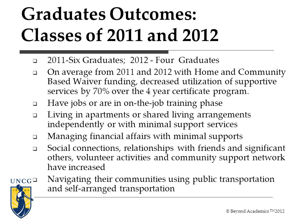 Graduates Outcomes: Classes of 2011 and 2012 2011-Six Graduates; 2012 - Four Graduates On average from 2011 and 2012 with Home and Community Based Waiver funding, decreased utilization of supportive services by 70% over the 4 year certificate program.