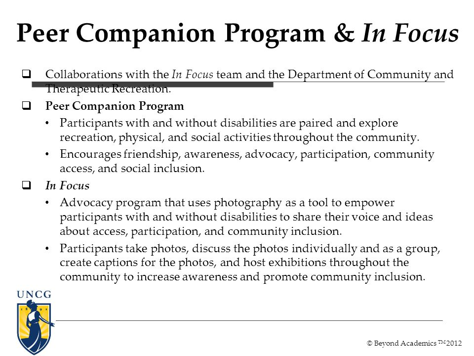 Collaborations with the In Focus team and the Department of Community and Therapeutic Recreation.