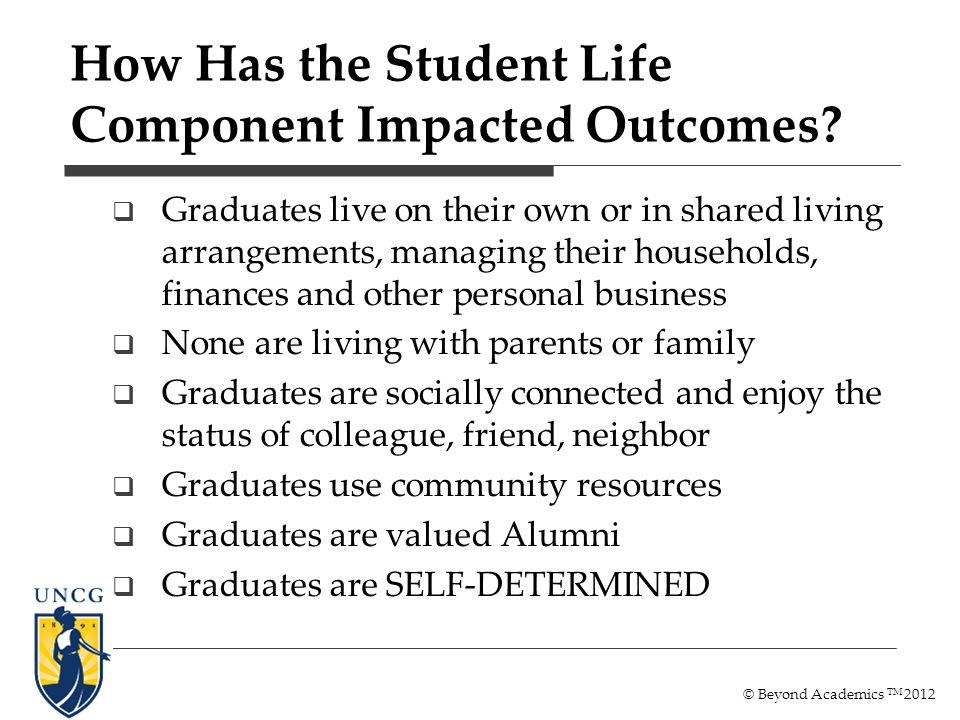 How Has the Student Life Component Impacted Outcomes? Graduates live on their own or in shared living arrangements, managing their households, finance