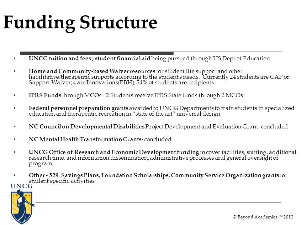 Funding Structure UNCG tuition and fees ; student financial aid being pursued through US Dept of Education Home and Community-based Waiver resources for student life support and other habilitative/therapeutic supports according to the students needs.