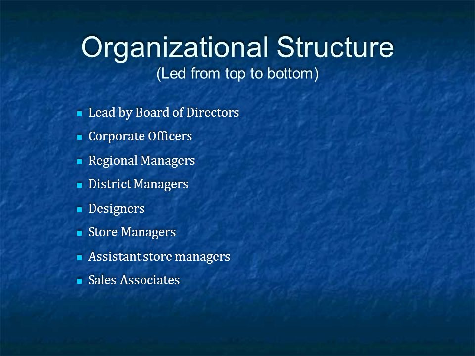 Organizational Structure (Led from top to bottom) Lead by Board of Directors Corporate Officers Regional Managers District Managers Designers Store Ma