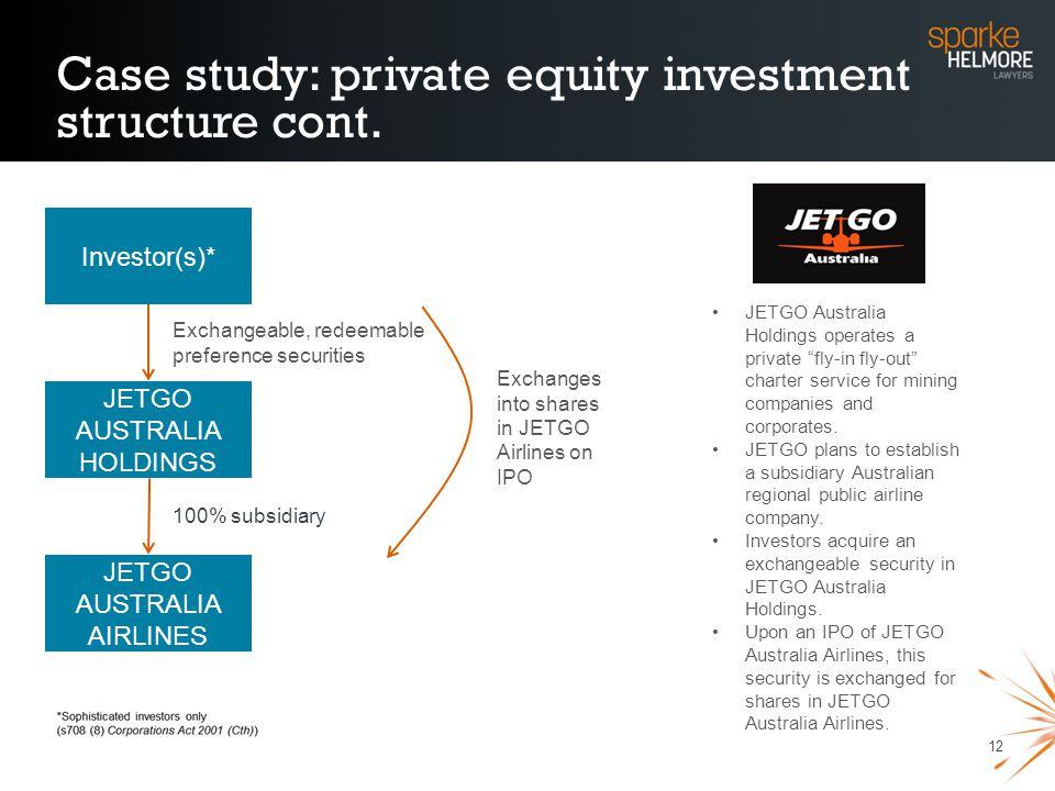 12 Case study: private equity investment structure cont. Exchangeable, redeemable preference securities Exchanges into shares in JETGO Airlines on IPO