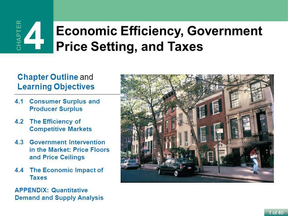 1 of 40 Economic Efficiency, Government Price Setting, and Taxes CHAPTER 4 Chapter Outline and Learning Objectives 4.1Consumer Surplus and Producer Surplus 4.2The Efficiency of Competitive Markets 4.3Government Intervention in the Market: Price Floors and Price Ceilings 4.4The Economic Impact of Taxes APPENDIX: Quantitative Demand and Supply Analysis