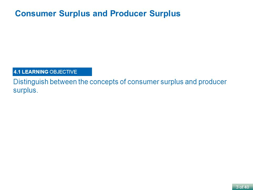 3 of 40 Distinguish between the concepts of consumer surplus and producer surplus.
