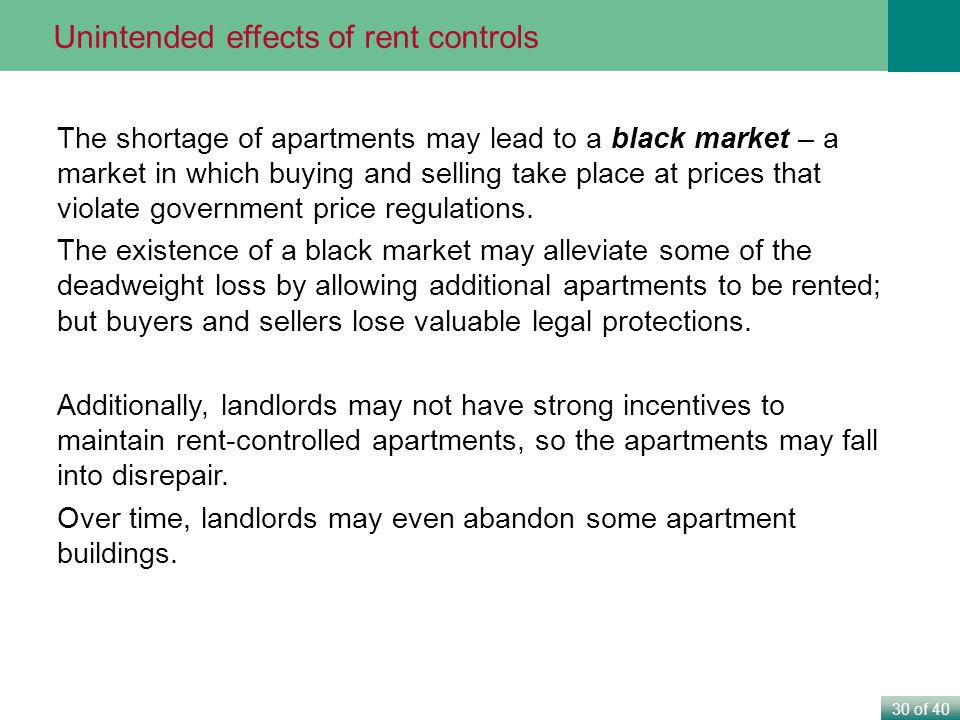 30 of 40 The shortage of apartments may lead to a black market – a market in which buying and selling take place at prices that violate government price regulations.