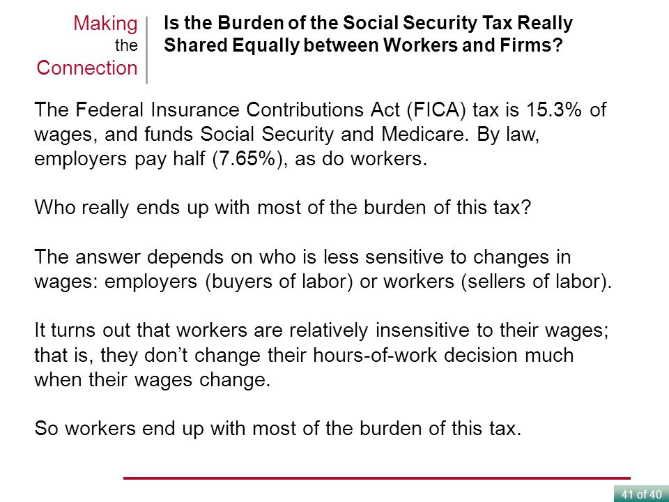 41 of 40 Is the Burden of the Social Security Tax Really Shared Equally between Workers and Firms.