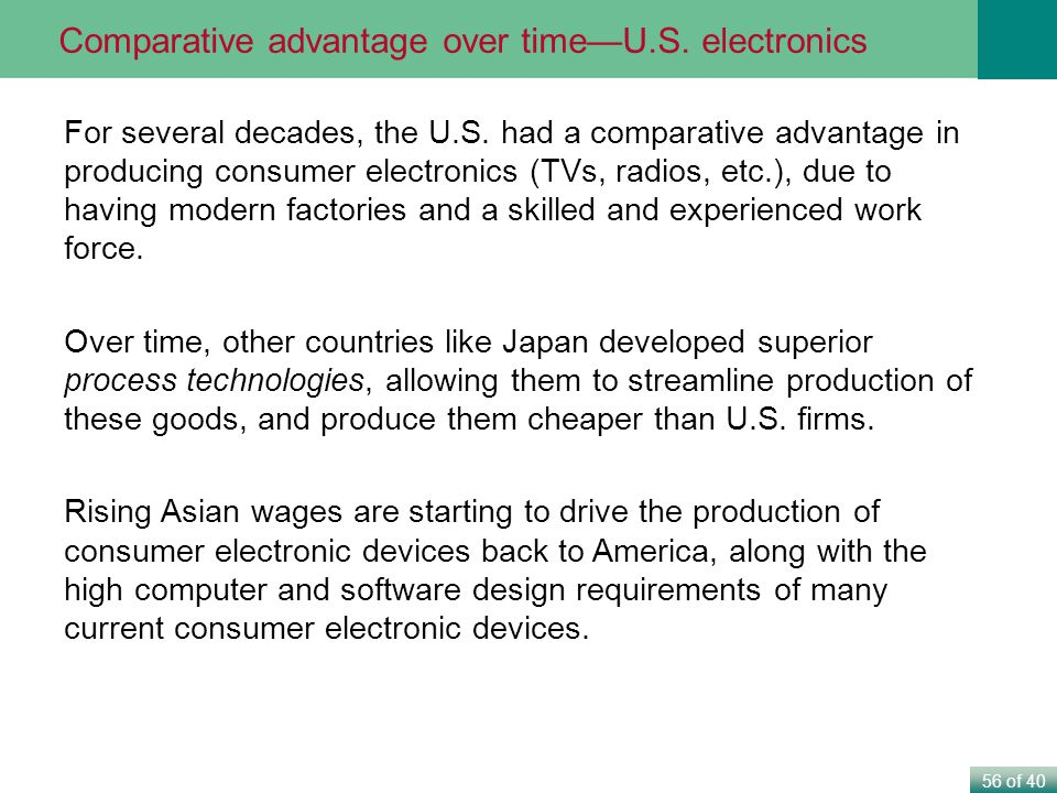 56 of 40 Comparative advantage over timeU.S.electronics For several decades, the U.S.