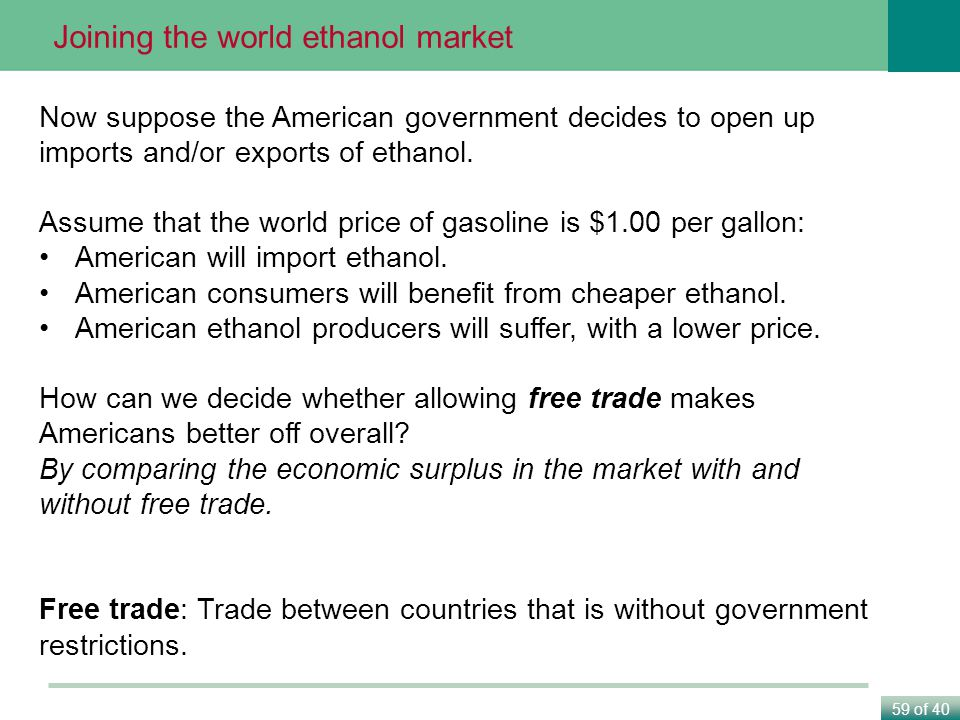59 of 40 Joining the world ethanol market Now suppose the American government decides to open up imports and/or exports of ethanol.
