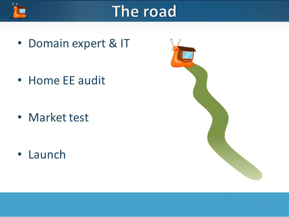 Domain expert & IT Home EE audit Market test Launch 5