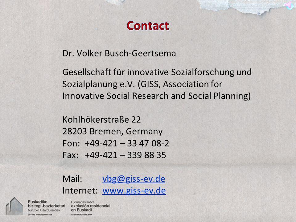 Dr.Volker Busch-Geertsema Gesellschaft für innovative Sozialforschung und Sozialplanung e.V.