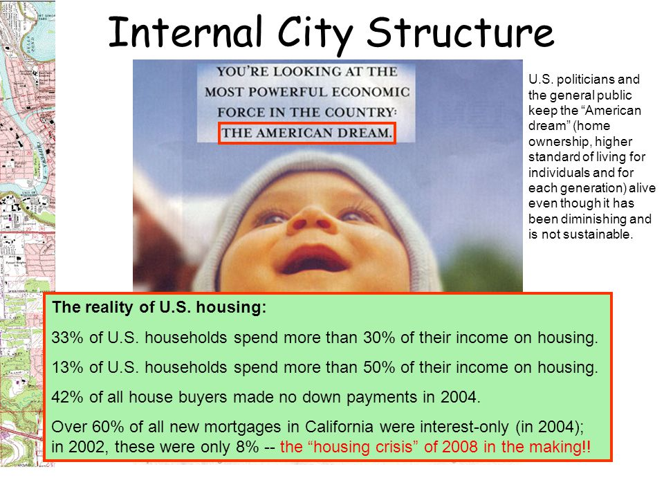 Internal City Structure The reality of U.S. housing: 33% of U.S.
