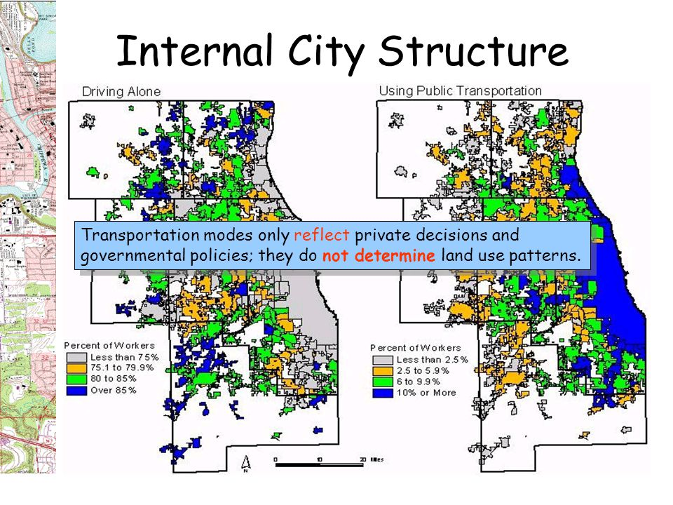 Internal City Structure Land Uses within Cities by Eras: Land Use Curve and Spatial Patterns R1 = foot travel -- circular, equal distance from the CBD