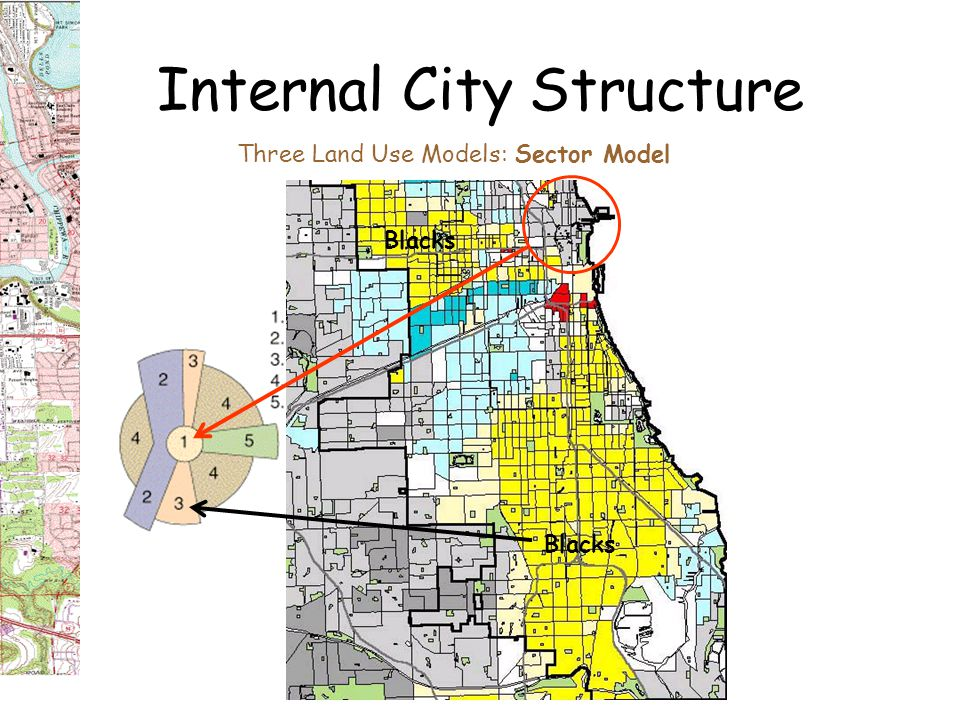 Internal City Structure Three Land Use Models: Sector Model Cities added linear spatial sectors when horse-drawn and then electrified street trolleys and commuter steam trains became common from the1890s-1940s.