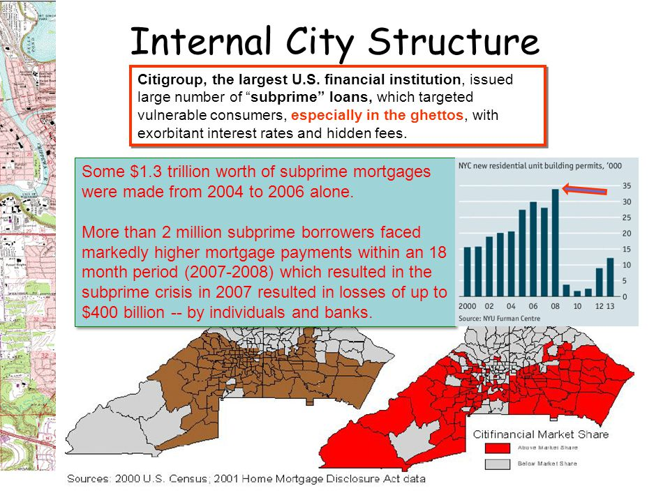 Internal City Structure Citigroup, the largest U.S. financial institution, issued large number of subprime loans, which targeted vulnerable consumers,